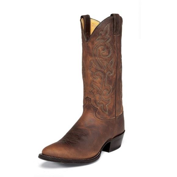 f1ada1fe047 Justin Buck Bay Apache Cowboy Boots Size 9